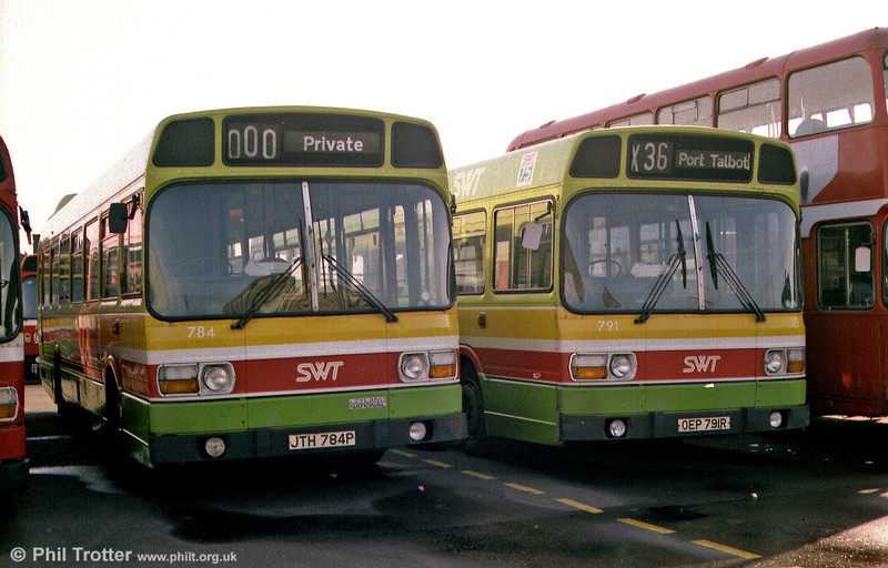 Leyland Nationals 784 and 791 seen at Port Talbot depot.