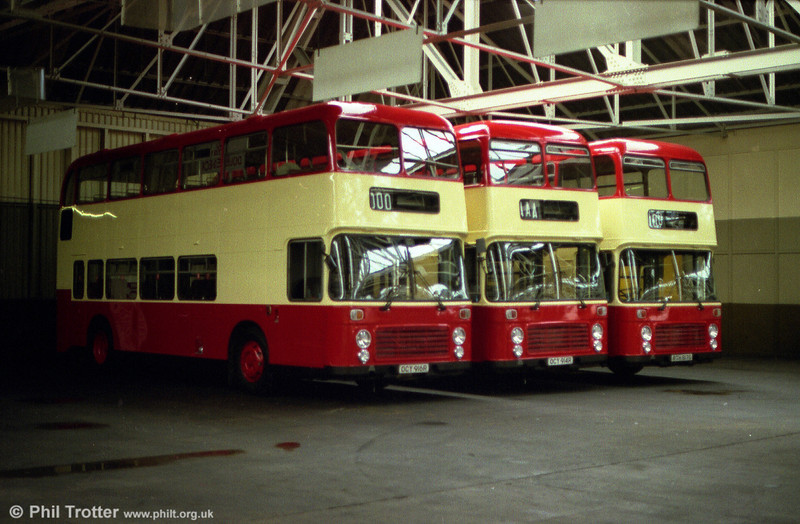 Three Bristol VRT SL3/ECW H43/31F, 916/4/7 (OCY 916/4R, RTH 917S) at Ravenhill after repaint for sale to Luton & District in 1987.