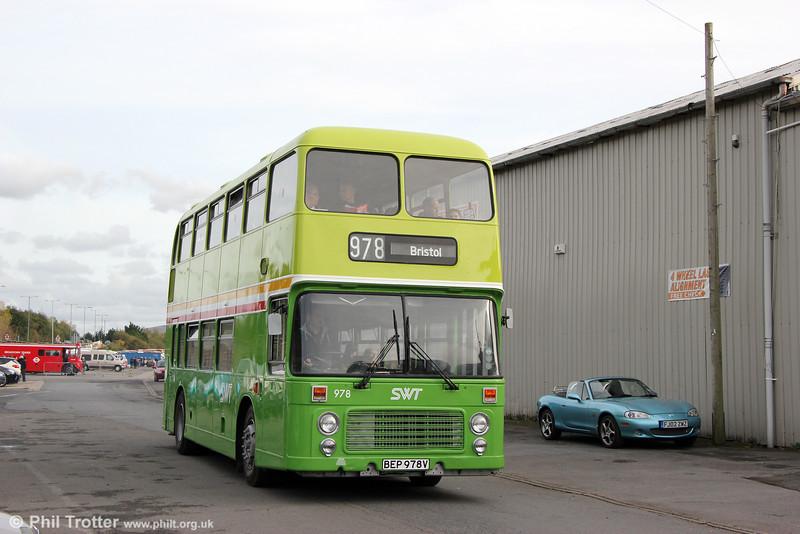Restored Bristol VRT 978 (BEP 978V) a  BristolVRT/SL3 with ECW H43/31F, seen at Swansea Bus Museum on 25th October 2015.