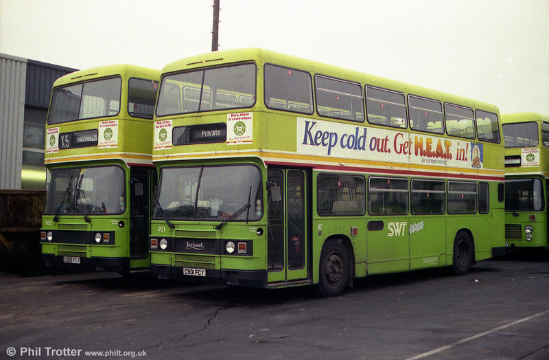 Seven Leyland Olympians were obtained by SWT in 1985, during the last days of National Bus. All were ECW H45/30F and 901 and 903 (C901/3 FCY) are seen at Ravenhill.