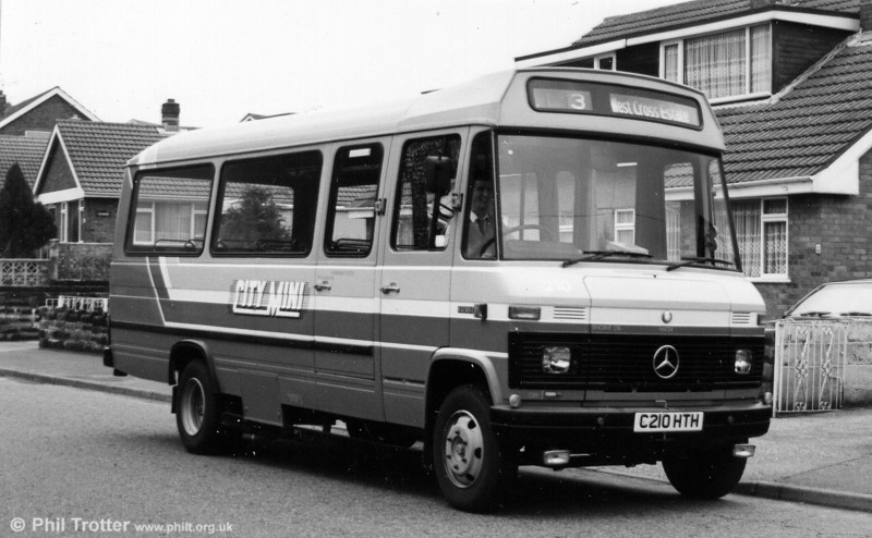 An early view of Mercedes L608D 210 at West Cross Estate in 1986. The initial batch of 15 entered service on routes to Oystermouth, Limeslade and Newton on 16th February 1986 under the 'City Mini' brand name.