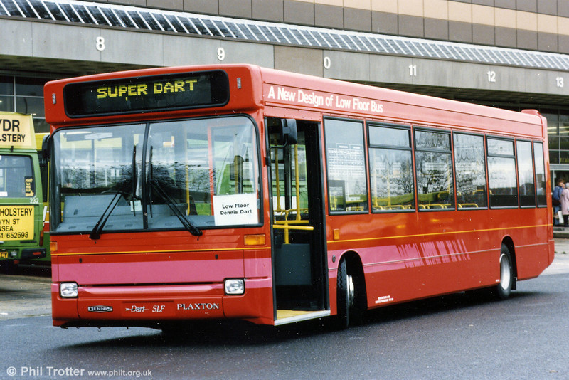 One of the early Dennis Dart SLF demonstrators - possibly this was the one later registered N305 DHE with Plaxton B40F - on hire to SWT at Swansea in 1996.