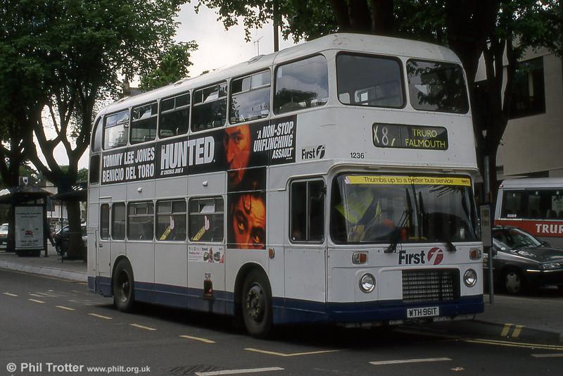 Former SWT Bristol VRT/ECW H43/31F 961 (WTH 961T) seen with First Devon & Cornwall (1236) in May 2003.