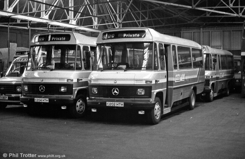 Awaiting entry into service at Ravenhill in February 1986 are Mercedes L608Ds 204 and 202.
