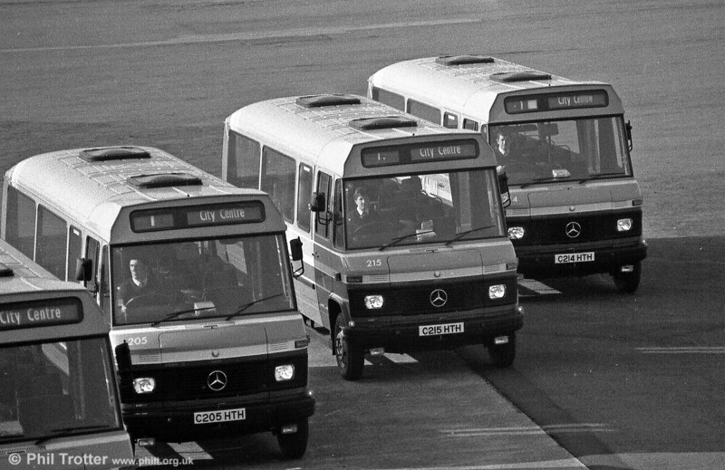 The initial batch of Mercedes L608Ds with Robin Hood B20F were 201-215 (C201-215 HTH), of which 205, 214 and 215 are seen here.