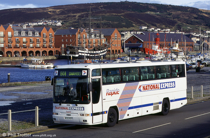 South Wales 108 (M108 NEP), a 1994 Dennis Javelin/Plaxton C44Ft, seen when new.