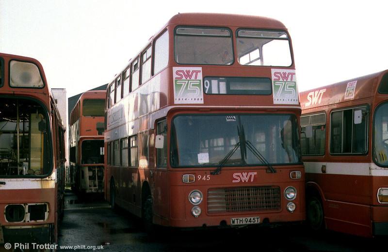 Bristol VRT SL3/ECW H43/31F 945 (WTH 945T) out of service at Port Talbot.