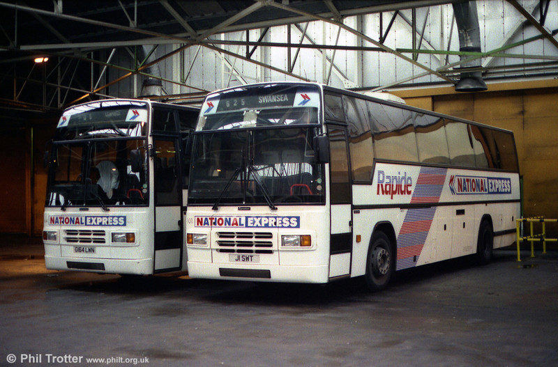 1991 Volvo B10M/Plaxton C46Ft 101 (J1 SWT) with similar 164 (G164 LWN).