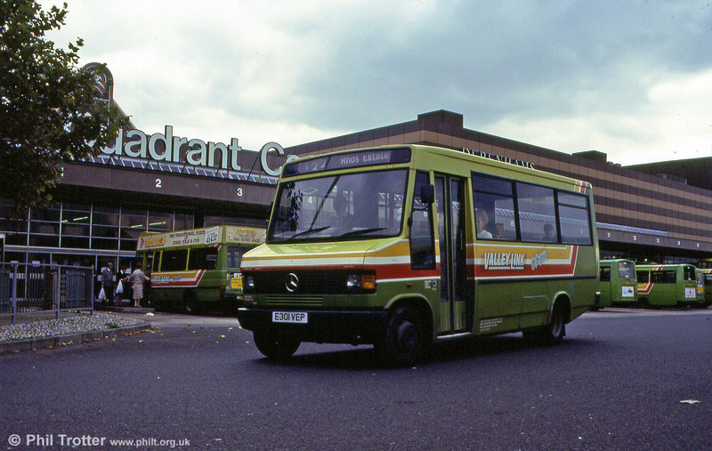 Pontardawe-allocated 301, with 'Valley Link' branding, at the Quadrant Bus Station.