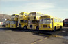 The fleet of Skillplace Training at Port Talbot. They are (left to right): 57 (SPK 114M), a Bristol LHS6L/ECW B35F; 54 (OCY 908R), a Bristol VRT/ECW H43/31F; 53 (CHB 409D), a former Merthyr Tydfil 1966 Leyland Titan PD3/4 with East Lancs H41/32F; 51 (OPU 823D), a 1966 Bristol FLF6B/ECW H38/32F and 58 (SPK 116M), another Bristol LH6L/ECW B35F.