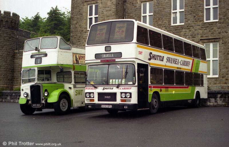 908 (B690 BPU) was a 1985 Leyland Olympian/ECW CH45/28F, one of a pair obtained from Thamesway (4502) in 1991. It is seen in the company of KSW5G 500 at a rally in Merthyr Tydfil.