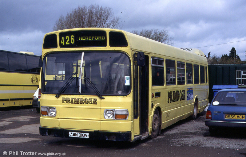 Former SWT Leyland National/B52F 810 at the premises of Lugg Valley Primrose Travel, Leominster in July 1999.