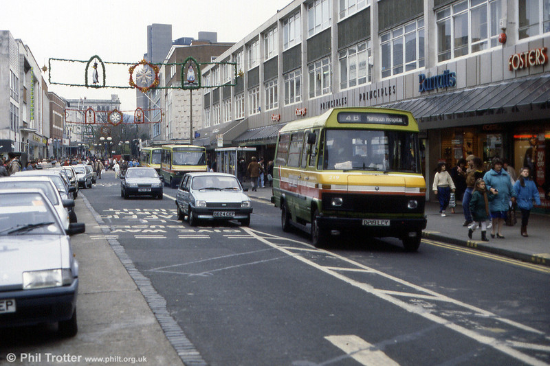 A busy scene in Oxford Street, Swansea with Mercedes L608D 219 returning to the Quadrant from Morriston.