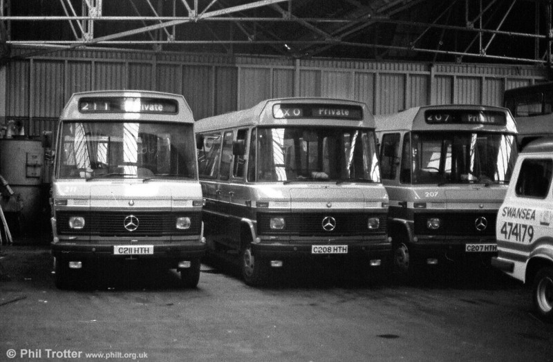 Another shot at Ravenhill with 207, 208 and 211 awaiting entry into service in February 1986.