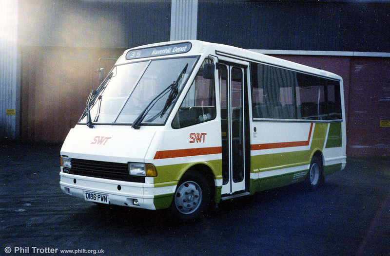 One additional MCW Metrorider was 386 (D186 PWN) with DP25F, obtained with the business of Brewer's, Maesteg. The vehicle was quickly transferred to Swansea to join the rest of the MCW fleet and is seen here having been repainted in 'DP Livery' at Ravenhill.
