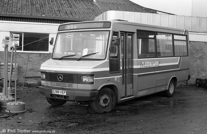 Carrying 'Cleddau Mini' fleetnames for the Haverfordwest area, 288 (E288 VEP) was at Ravenhill for attention when photographed here.