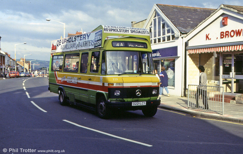 221 is seen at Morriston and illustrates the roof-mounted advertising frame to good effect. City Mini services were introduced to the Morriston routes on 26 October 1986.