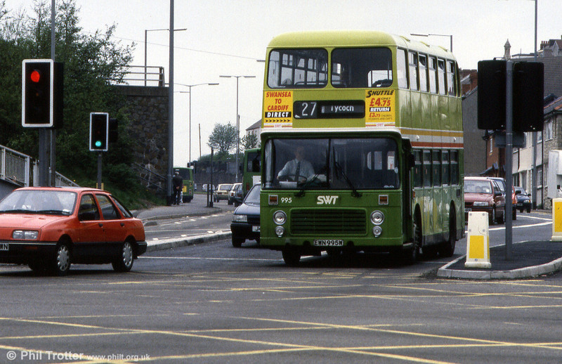 The last of the former NBC/SWT VRTs was 995 (EWN 995W) seen at Dyfatty, Swansea.