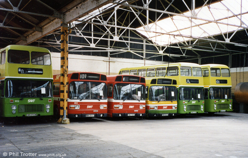 Bristol VRTs and Leyland Nationals in store at Gorseinon.