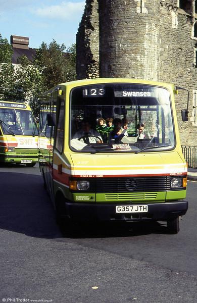 357 passes Swansea Castle at Caer Street.