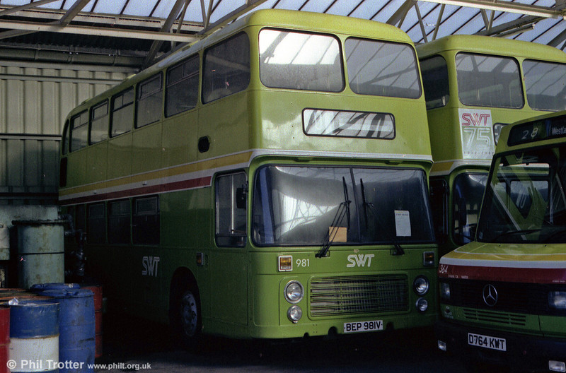 Newly repainted 981 (BEP 981V) in store at Port Talbot depot.