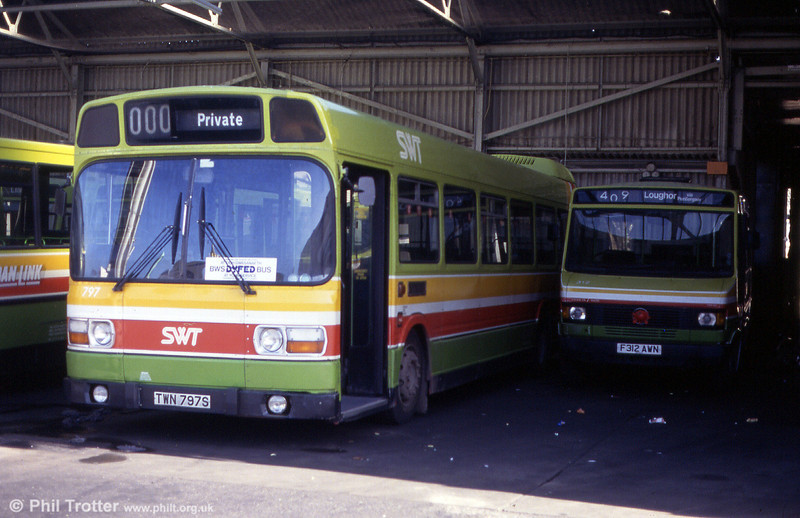Leyland National 797 (TWN 797S) at Llanelli in June 1993.