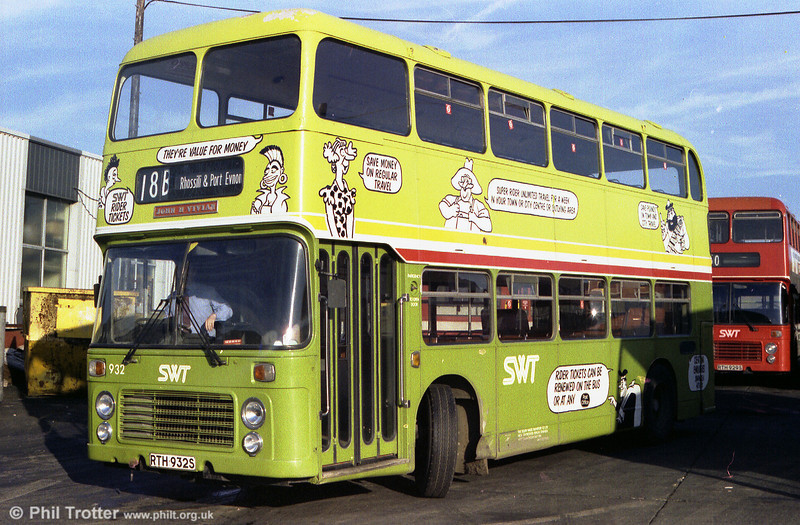 In a not-too successful advertising livery is Bristol VRT 932 (RTH 932S) which carried ECW CO43/31F bodywork.