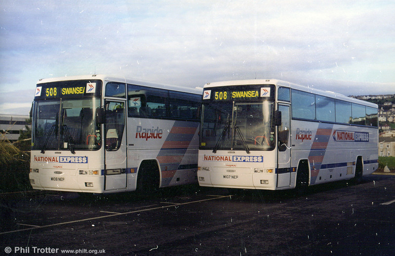 107 & 108 (M107/8 NEP), Dennis Javelins with Plaxton C44Ft for National Express work.