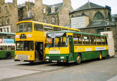 Lowland Scottush 325 (A325BSC) & Eastern Scottish LL138A (A138BSC), St Andrew Square Bus Station, Edinburgh, 26th June 1988