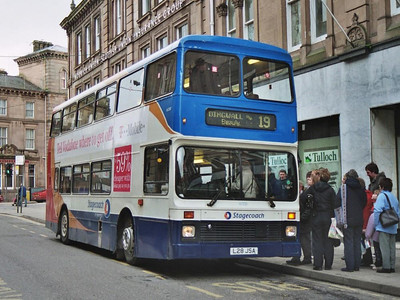 Stagecoach NCME bodied Volvo Olympian 16200 (L28JSA) on a Dingwall service on Union Street, 19th February 2005.