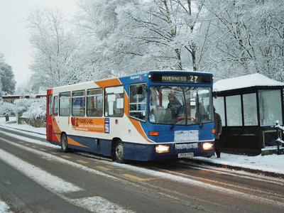 Coda: Stagecoach Dennis Dart 32809 (J509FPS) loading in Strathpeffer on 21st February after an overnight snowfall
