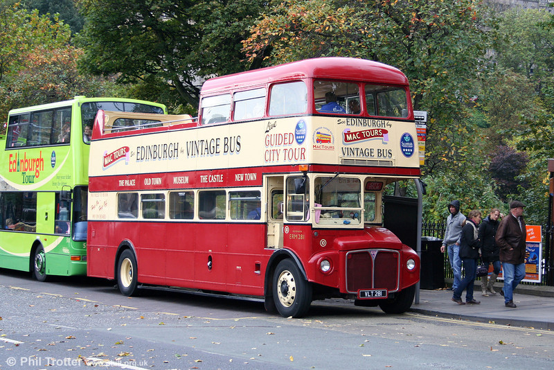 Mac Tours 10/ERM281 (VLT 281) is another 'stretched' 1960 AEC Routemaster/Park Royal PO39/32RD seen at Waverley Bridge on 17th October 2010.
