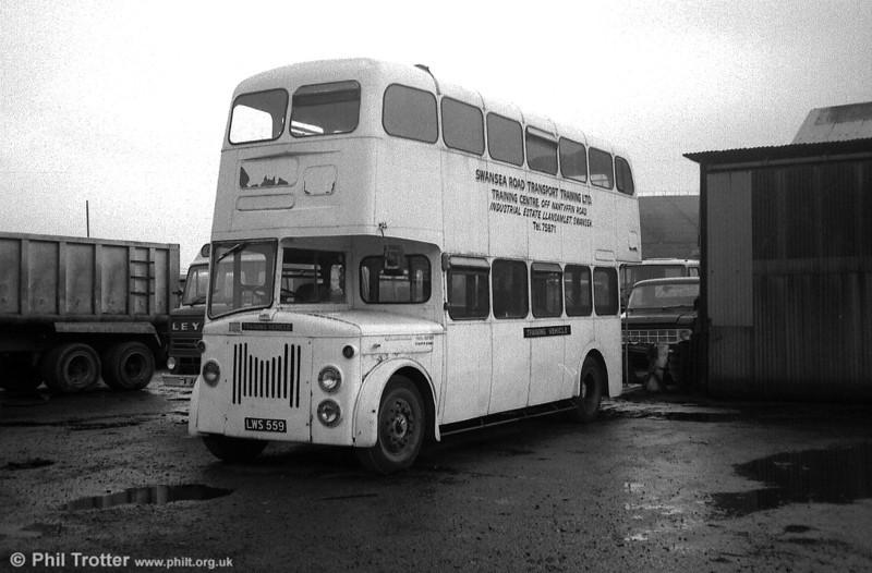 Former Edinburgh 559 (LWS 559) seen with Swansea Road Transport Training Ltd.