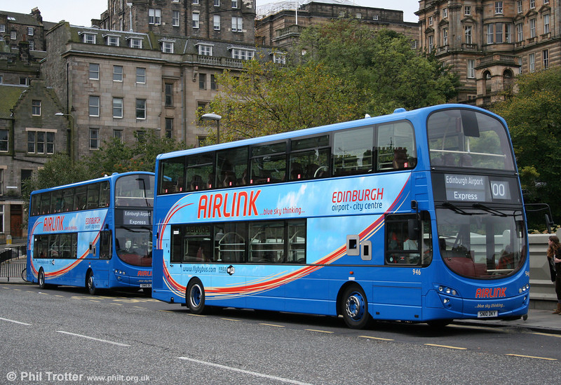 Lothian 946 (SN10 DKY), a Volvo B9TL with Wright H48/32F carries 'Airlink' livery for service 100 to Edinburgh Airport as seen on Waverley Bridge, Edinburgh on 19th October 2010.