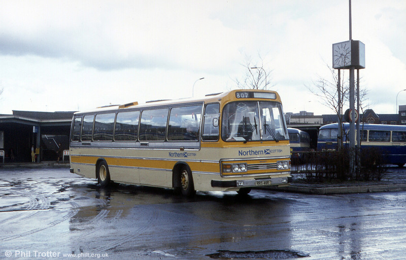 Northern Scottish RRS 46R was a Leyland Leopard / Duple Dominant new in 1977. It later passed to Stagecoach and has been preserved at the Scottish Vintage Bus Museum at Lathalmond, near Dunfermline. It was photographed while still in service, in April 1983.