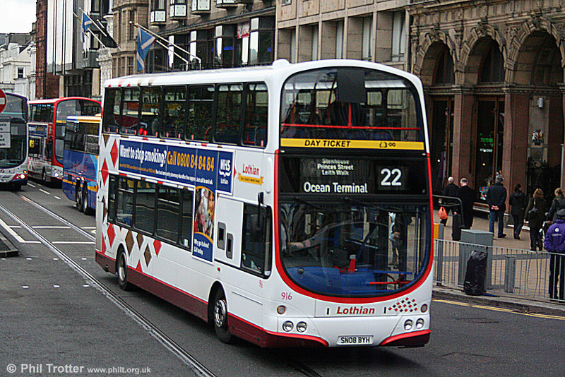 Lothian 916 (SN08 BYH), a Volvo B9TL with Wright H48/32F seen in Princes Street, Edinburgh on 17th October 2010.