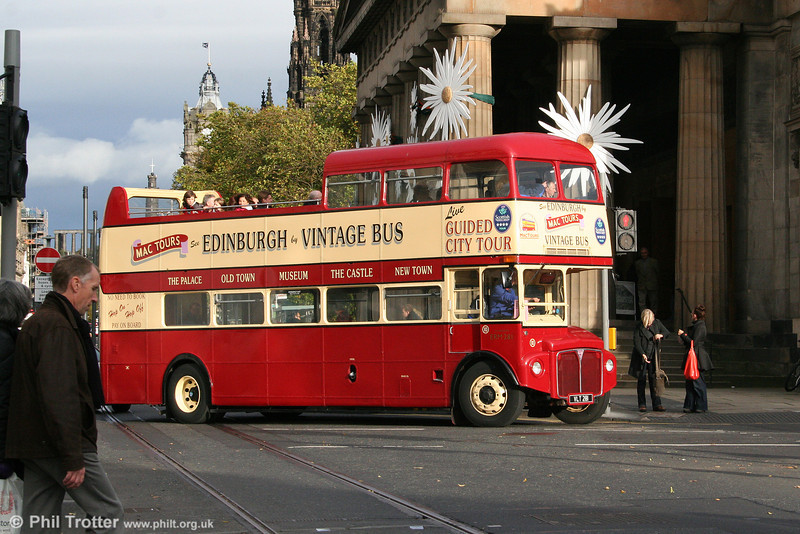 Seen at the the junction of Hanover Street and Princes Street, Edinburgh on 17th October 2010 is Mac Tours 10/ERM281 (VLT 281) an AEC Routemaster/Park Royal PO39/32RD.
