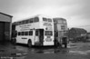 Former Edinburgh 628 (YWS 628), a 1962 Leyland PD2/Alexander H37/29R under repair at Morriston while with Swansea Road Transport Training Ltd.