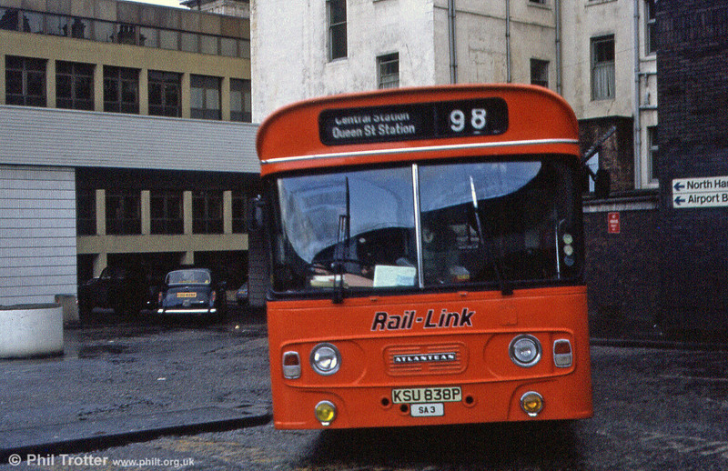 A second view of Greater Glasgow Leyland Atlantean SA3 on the inter station link in 1983.