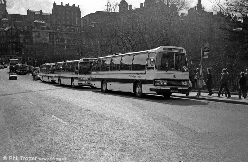 Lothian 249 (NSX 249T) a Leyland leopard/Duple C53F leads a line up of the operator's coaches.