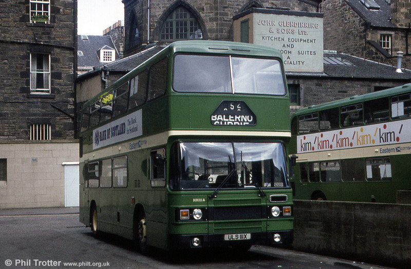 Eastern Scottish HH111 (ULS 111X) was an ECW H45/32F bodied Leyland Olympian, photographed in April 1983.