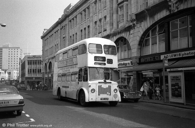Former Edinburgh 628 (YWS 628), a 1962 Leyland PD2/Alexander H37/29R in service with Swansea Road Transport Training Ltd.