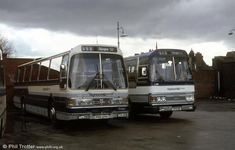 Highland Scottish E1 (PRN 125X), a former Duple Leyland Tiger/Duple C57F and L49 (CFS 111S), a former Alexander (Fife) Leyland Leopard/Duple C49F.