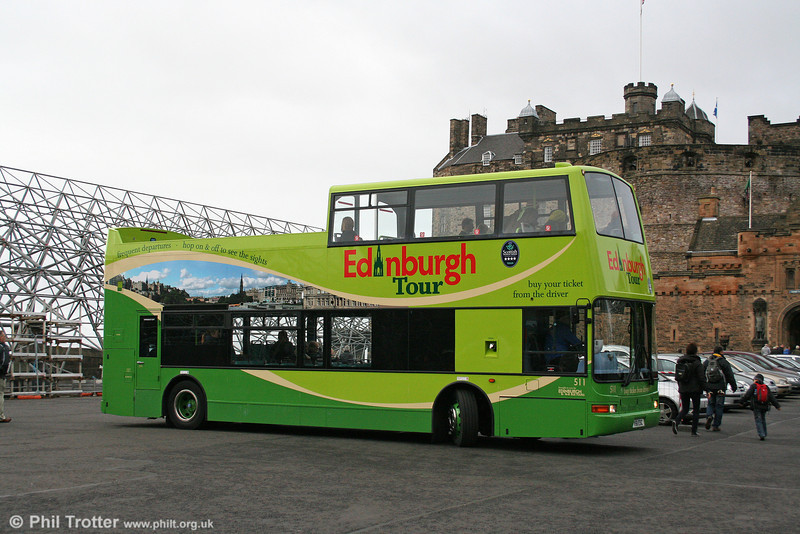 Edinburgh Tours is a subsidiary of Lothian. Its 511 (V511 ESC) a Dennis Trident with Plaxton PO51/25F seen at Edinburgh Castle on 18th October 2010.