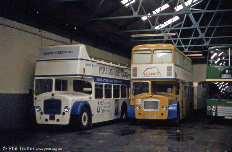 Two further examples of Eastern Scottish Bristols in semi-retirement. Left is GCS 245, formerly Western SMT Bristol LD6G B1159 with ECW H33/27R and Bristol FLF6G CSG 28C with ECW H38/32F.