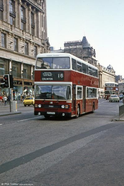 Lothian 676 (OFS 676Y), a Leyland Olympian/ECW H45/34F seen in central Edinburgh in 1983.