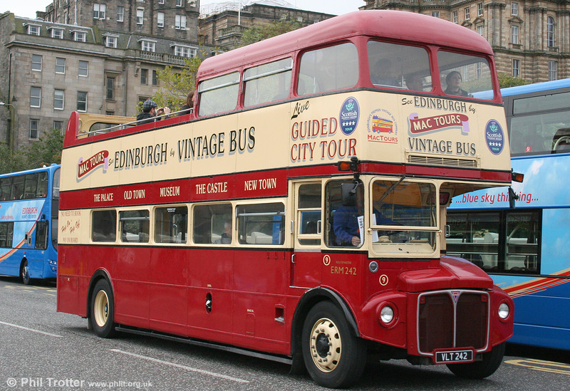 Another view of Mac Tours AEC Routemaster/Park Royal PO39/32RD 9/ERM242 (VLT 242) seen at Waverley Bridge, Edinburgh on 19th October 2010.