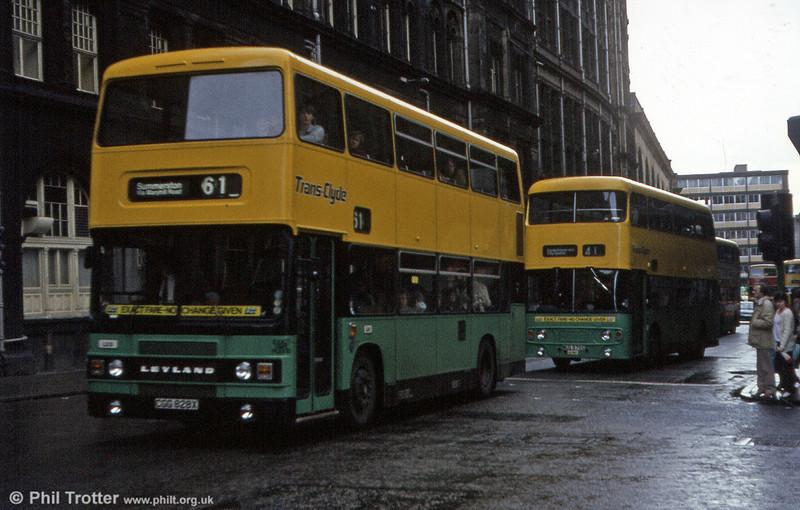 Greater Glasgow Leyland Olympian CGG 829X on a gloomy Glaswegian day in April 1983.