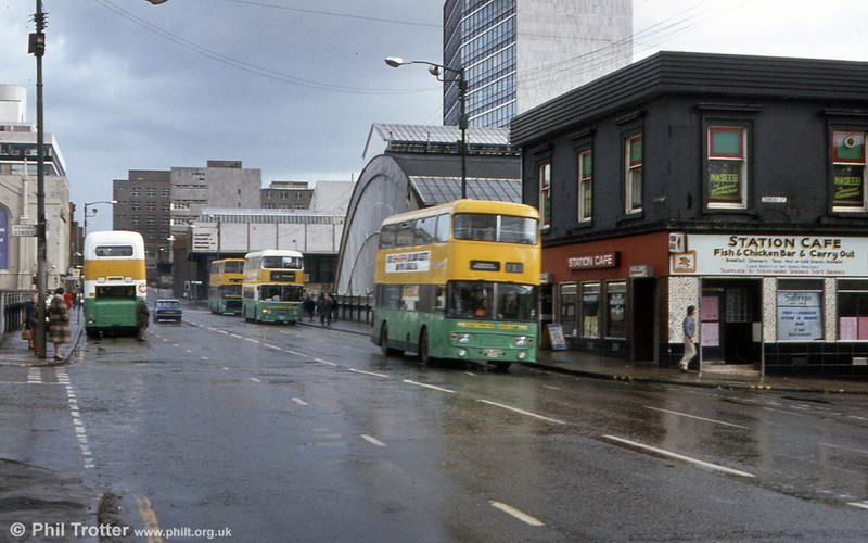 A street scene in central Glasgow near Queen Street Station (right) with three Alexander bodied Atlanteans and an Ailsa bringing up the rear.
