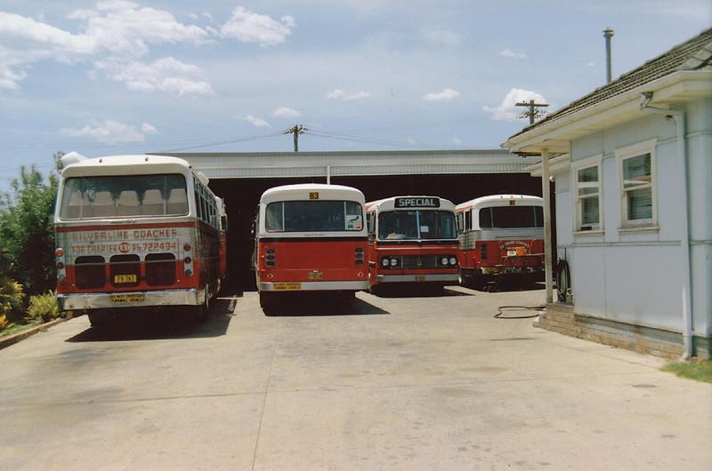 LtoR TV-767 NISSAN PRX102D/SMITHFIELD (10/76) (Ex KLQ-661) (Ex Coolamon MO 4998), m/o 5834 BEDFORD VAM70/CCMC (12/72), m/o 7071 BEDFORD BRP2/CCMC (3/76) (ex Evans m/o 402), m/o 5821 BEDFORD VAL70/CCMC (5/72) Photo taken at depot in 1982
